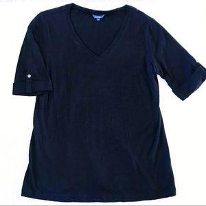 REITMANS Black V Neck 1/2 Sleeve Top Size L